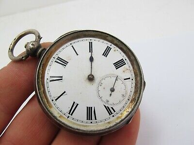 Vintage Antique Sterling Silver Key Wind Open Face Pocket Watch