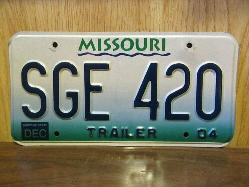 2004 Missouri Trailer 420 License Plate Tag # SGE-420