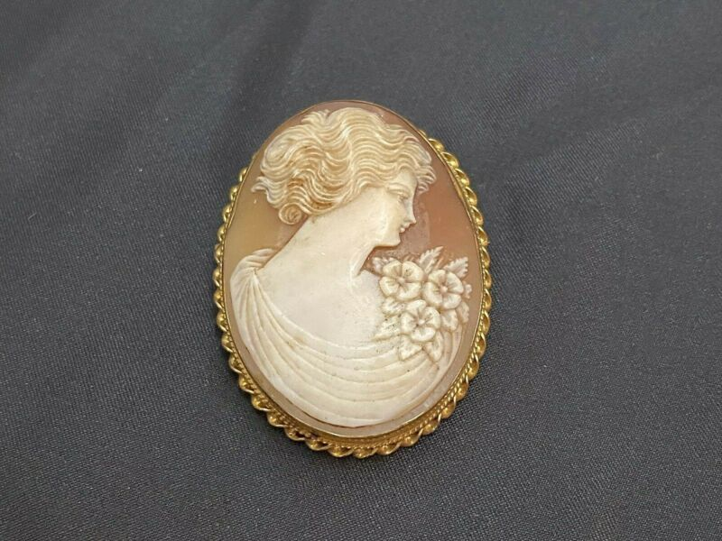 """Large Yellow Gold Filled Cameo Brooch Girl Woman with Flowers approx 2"""" x 1 1/2"""""""