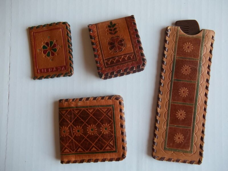 Decorative leather mini souvenirs with Latvian design, 4 items