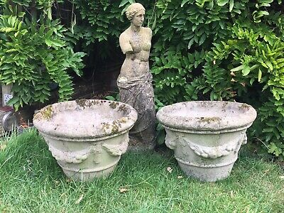 Vintage Pair Of Classical Tapered Stone Planters