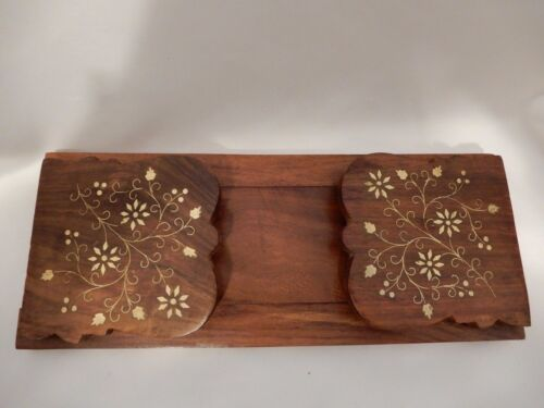 Sheesham Wood Hand Carved Sliding Book Holder Ends with Brass Inlay India