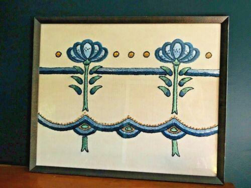 "Vintage Framed Embroidery Picture Detail Blue Floral 22 3/4"" x 18 1/2"""