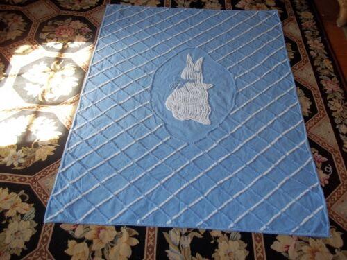 Vintage 50s Chenille Baby Blanket Coverlet Bunny Rabbit Lightweight Summer