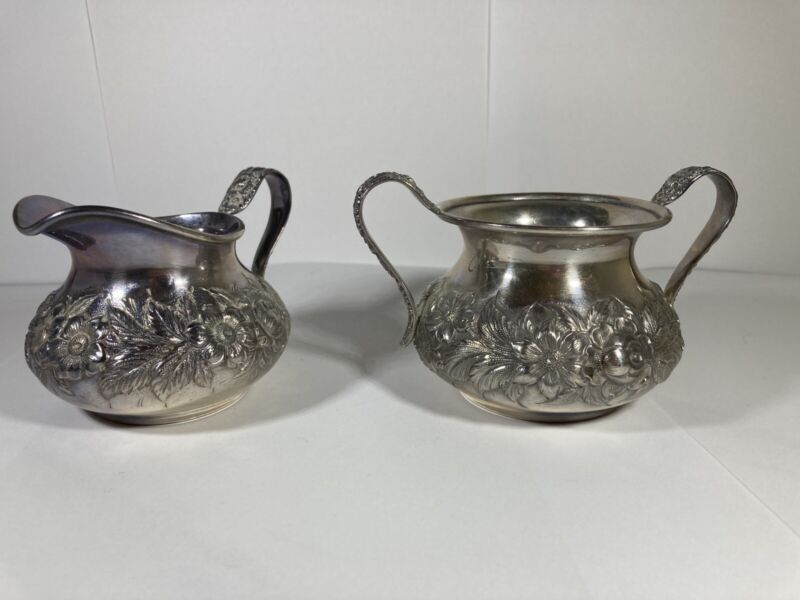 ANTIQUE S.KIRK & SON STERLING SILVER REPOUSSE SUGAR BOWL &CREAMER HAND DECORATED