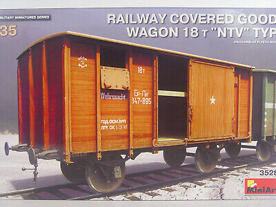 """MiniArt 35288 Railway Covered Goods Wagon 18 t /""""NTV/""""Ty in 1:35"""