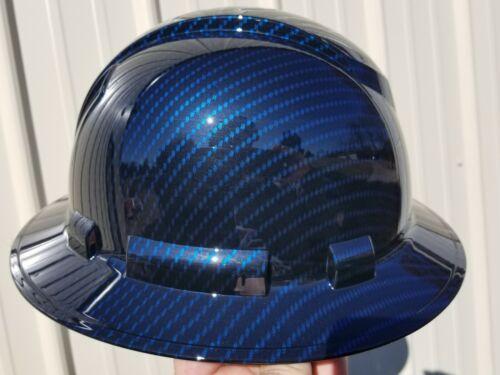 NEW FULL BRIM Hard Hat custom hydro dipped Deep blue candy carbon fiber sick  5