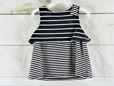 Nautica Navy and White Striped Shirt Size 4T