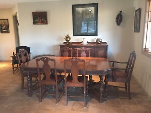 Antique table, hutch and China cabinet