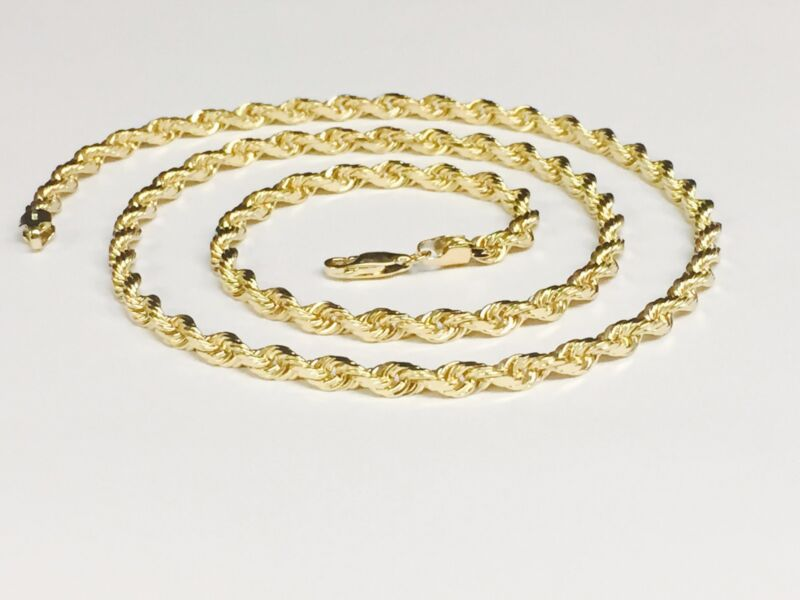 18kt Solid Gold Diamond Cut Rope Chain Necklace 22 5 Mm 42 Grams (kdc035)