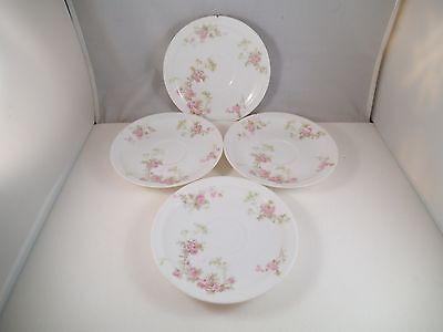Vintage Haviland & Co Limoges France Set of 4 Saucers Pink Roses