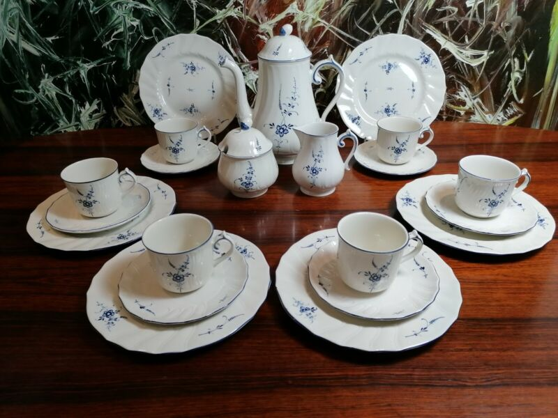Villeroy & Boch Luxembourg Old - Pretty 21 Piece Coffee Service For 6 Pers