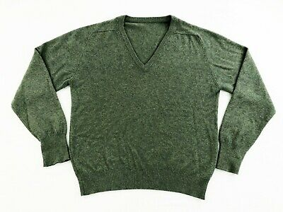 Best of Scotland Mens 100% 2 Ply Cashmere V Neck Pullover Sweater Green Size