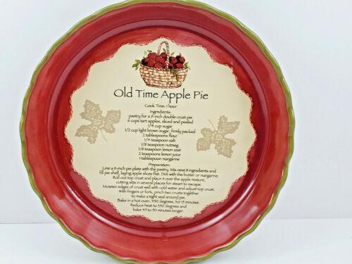 """Old Time Apple Pie Recipe Ceramic 10"""" Dish"""