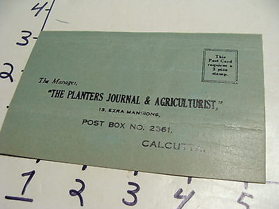 Vintage Travel Paper: The Planters Journal & Agriculturist card CALCUTTA