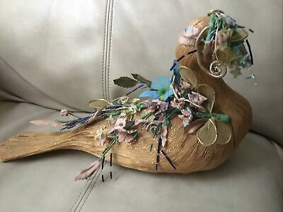 """Vintage Paper Mache Floral Decorated Peacock Bird 14""""L X 8.5""""H Preowned"""