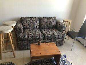 1 Couch , 3 stool, 1 side table ,1 chair all for $10