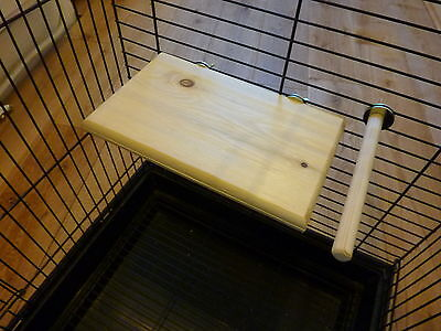 natural wood platform and perch for budgies,canaries and finches