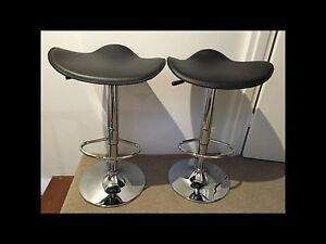 Black leather gas lift bar stools Lane Cove Lane Cove Area Preview