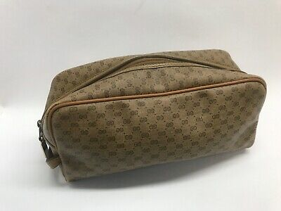 Vintage Gucci Dopp Bag Case Tan Monogram Logo Toiletry