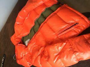 Moncler maya orange down jacket