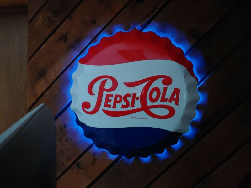 "PEPSI-COLA BOTTLE CAP METAL- LED Halo  Vintage Embossed. STOUT 9407454  27"" SIGN"
