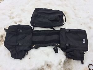 Saddle bags with velcro cantle bag and bottle holders