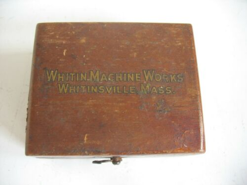 Vtg 8 sliding platform scale weights in wood box Whitin Machine Works MA