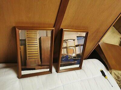 Pair Of Teak Framed Mirrors