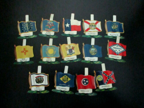 Nabisco Cereal Premiums ~ State Flags ~ Lot of 13 ~ Tin Litho ~ 1959