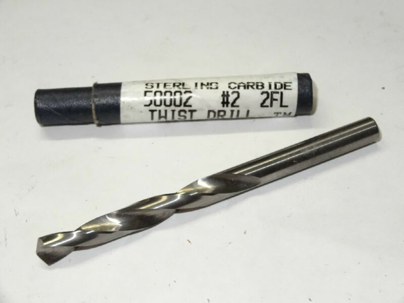 STERLING #2 number 2 Solid Carbide Jobber Length Twist Drill bit USA .2210