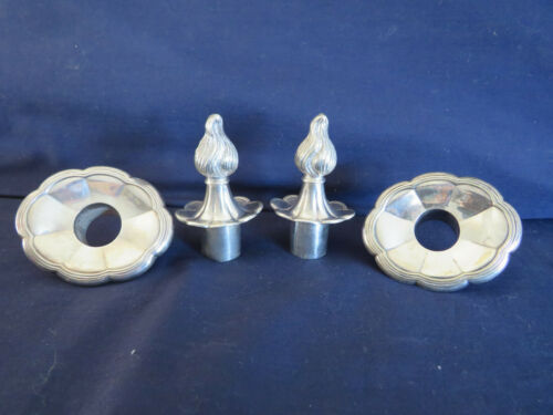 VINTAGE PAIR OF SILVER PLATE BOBECHES WITH FLAME TOPPED SNUFFERS