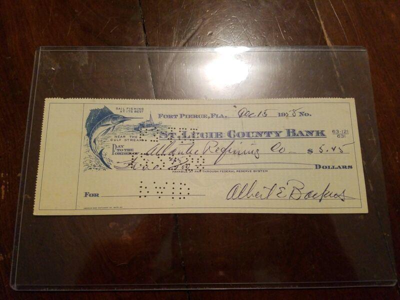 "Famous Artist Albert Ernest ""E.A."" Backus Signed Check Ft. Pierce Florida RARE!"