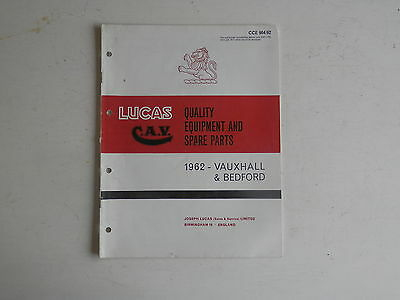 LUCAS Parts List 1962 VAUXHALL BEDFORD cars and commercials