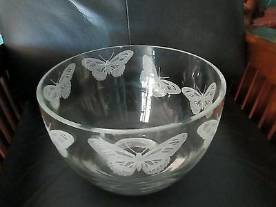 OOAK Large Clear Etched Art Glass Butterfly Bowl  Artist Jay Hoyt Curtis Salad