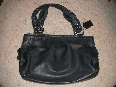 Large Black Leather COACH Handbag Satchel Style LO826