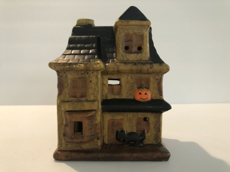 Vintage Ceramic Halloween Haunted House Candle Holder With Box