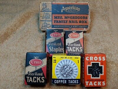 Lot of Vintage Cross, Holland & Mrs McGregors Upholsters Tacks Nails Staples