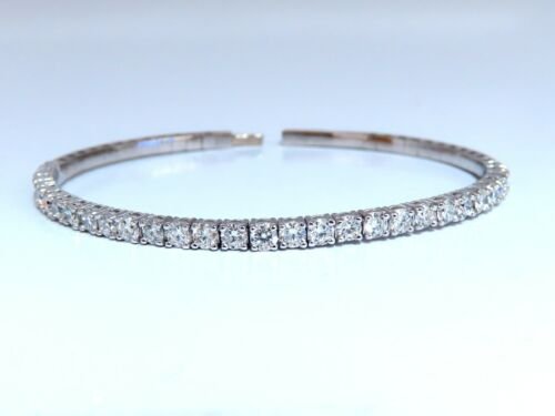 2.90ct Natural Round Diamonds Flexible Tennis Bangle Bracelet 14 Karat