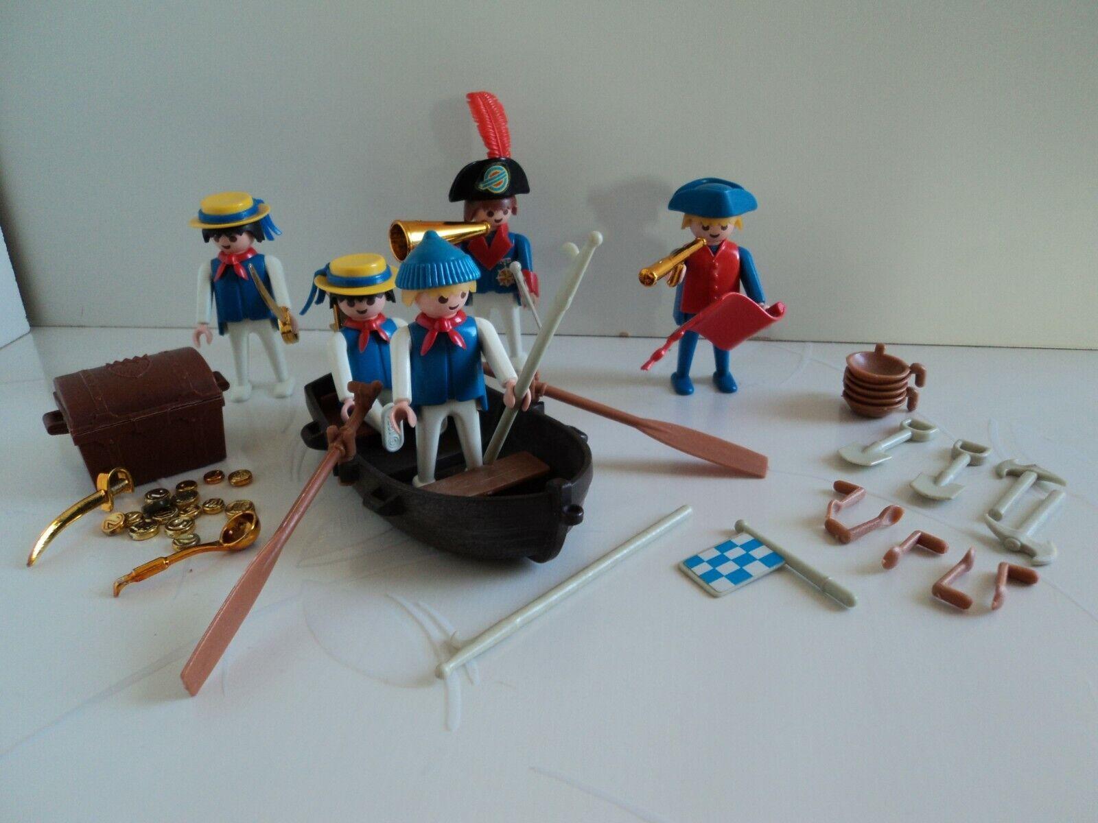 Playmobil vintage lot pirates complet barque coffre carte trésor 3546-b de 1983