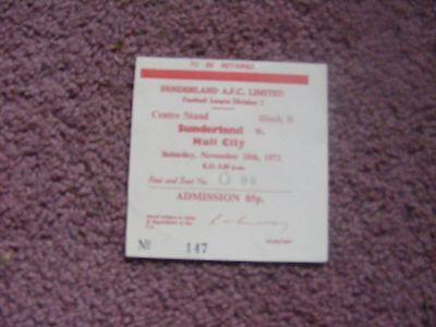 1972/3 Sunderland  v Hull City Ticket
