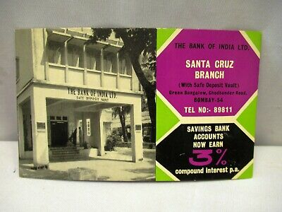 Vintage The Bank Of India Santa Cruze Bombay Advertising Card Blotter Paper Old""