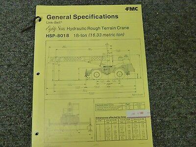 Link-belt Hsp-8018 Rough Terrain Crane Specifications Lifting Capacities Manual