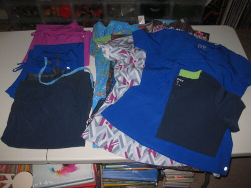 Barco + Assorted Brand Scrubs Lot - 3 Medium M Bottoms & 9 Tops Hello Kitty TMNT