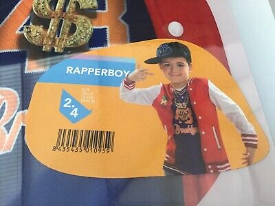Rapper Boy Fancy Dress T-Shirt Costume Gangsta Outfit Age 2-4 Yiija Kids](Boys Rapper Costume)
