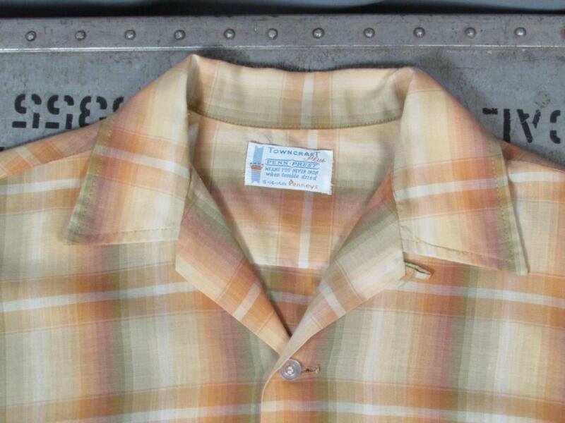 Vintage 1950s Towncraft Plus Top Loop Shirt Shadow Plaid Penneys Sz.S Rockabilly