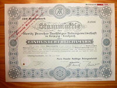 """D: Moritz Prescher Nachf., Leipzig-Leutzsch, 1926, 100 RM ,""""Cigarrenkisten""""*"""