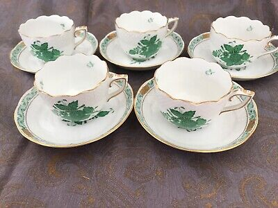 5 Chinese Bouquet Green Herend Hand Painted Tea or Coffee Cups