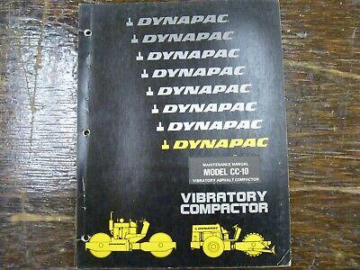 Dynapac Cc10 Vibratory Asphalt Compactor Roller Operator Maintenance Manual