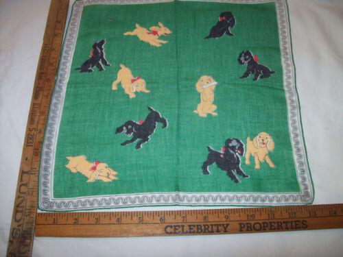 VINTAGE CLEAN BLACK/ BROWN PUPPYS DOGS GREEN HAND ROLL 1950 HANKIE HANDKERCHIEF
